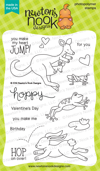 Hoppy Days Stamp Set | 4 x 6 Jumping Animals Stamps by Newton's Nook Designs #newtonsnook