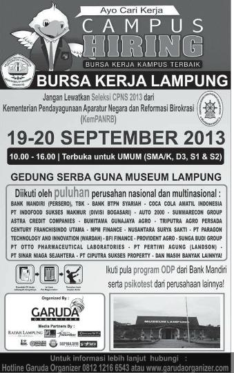 Campus Hiring Bursa Kerja Lampung Terbaik September 2013