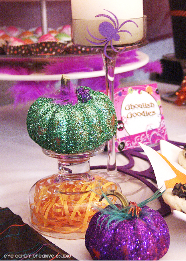 how to glitter pumpkins, ghoulish goodies, halloween party decor