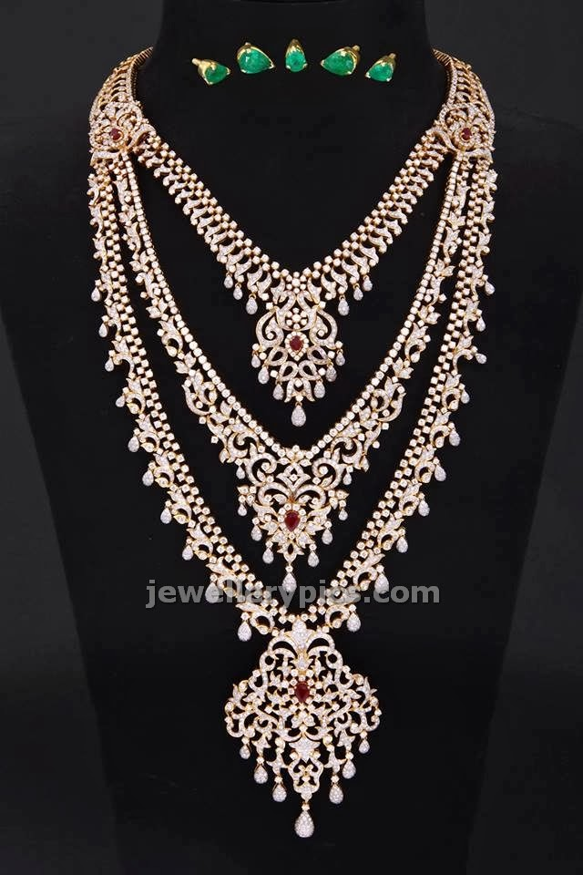 ckc tripple layer diamond necklace heavy jewellery