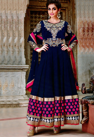 Blue Velvet Plus Faux Georgette Abaya Style Churidar Shalwar Dress
