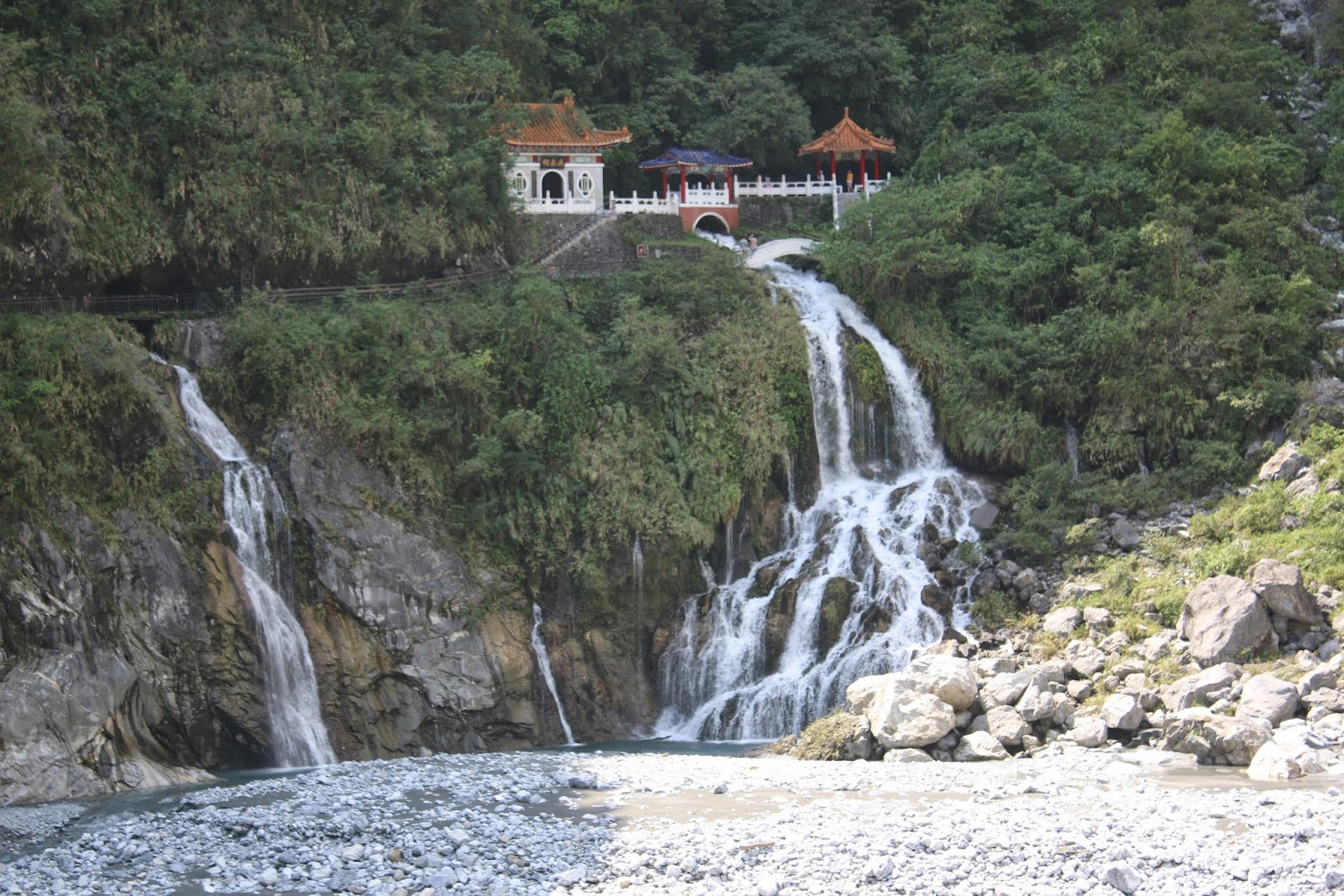 A popular shoot position of the Eternal Spring Shrine at Taroko Gorge National Park in Hualien, Taiwan