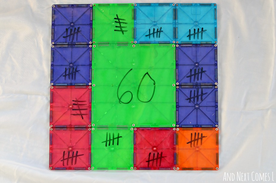 Using Magna-Tiles to explore elementary math concept of tally marks from And Next Comes L
