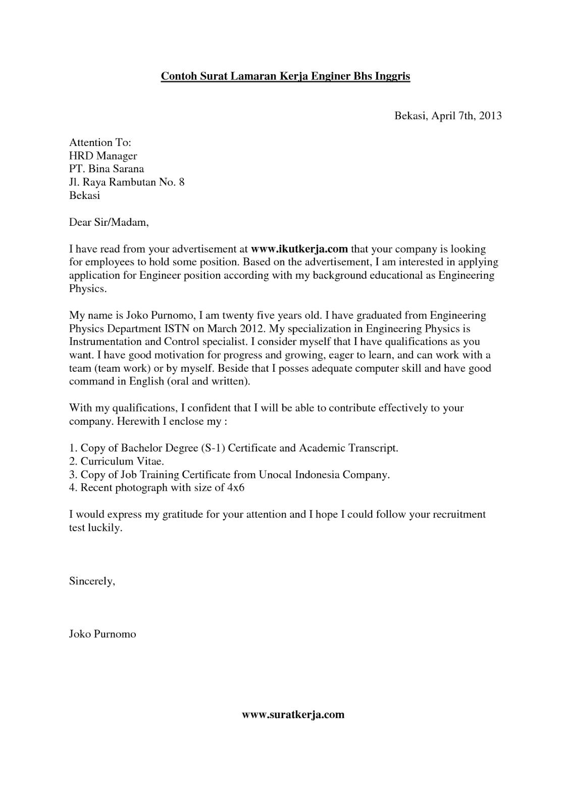 Contoh application letter untuk job fair on