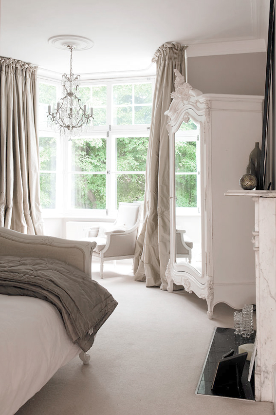 The paper mulberry essentially french for Grey and neutral bedroom