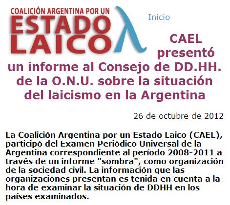 CAEL presentó un informe al Consejo de DD.HH. de la O.N.U. sobre la situación del laicismo en la Argentina