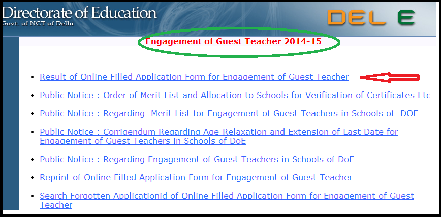 www.edudel.nic.in | Delhi Guest Teachers Jobs 2014 Final Merit List/Cut Off & Instructions