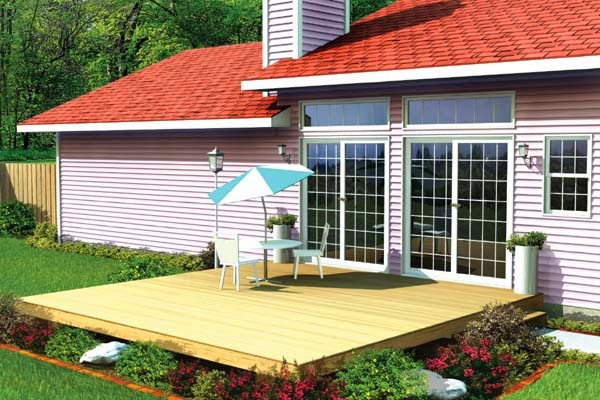 Patio and deck ideas for small home landscaping for Simple platform deck plans