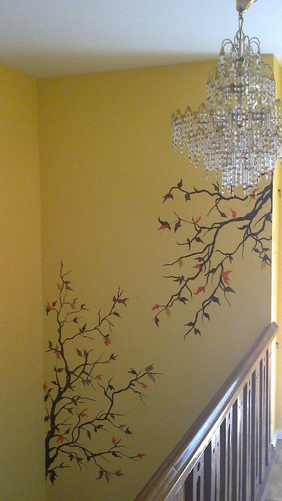 Pintura decorativa y mural hueco de escalera con rama - Pintura para escaleras ...
