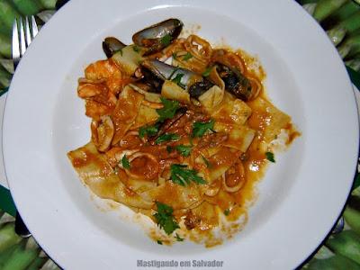 Restaurante Aspargos: Pasta Parpadelle ao Molho de Mariscos