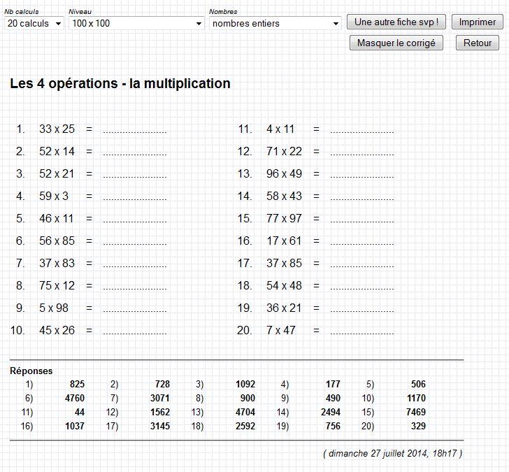 Fabuleux Entraînement au calcul: Gomaths.ch - Ressources pour l'école ME08