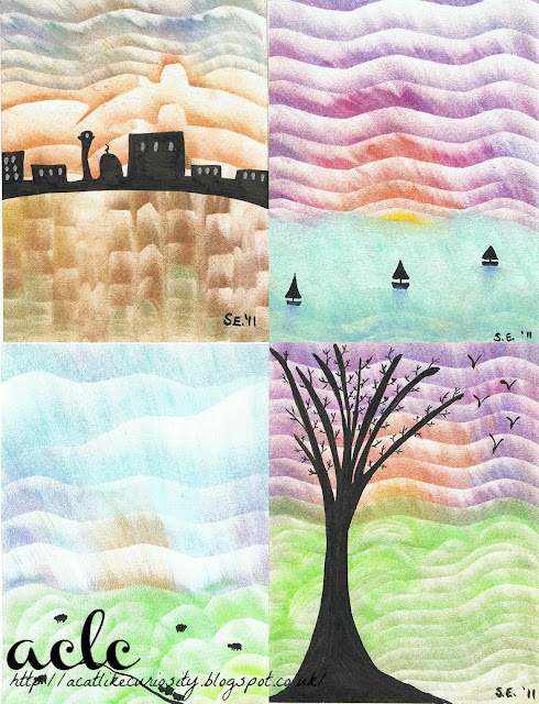 Chalk and Ink Landscapes Collage