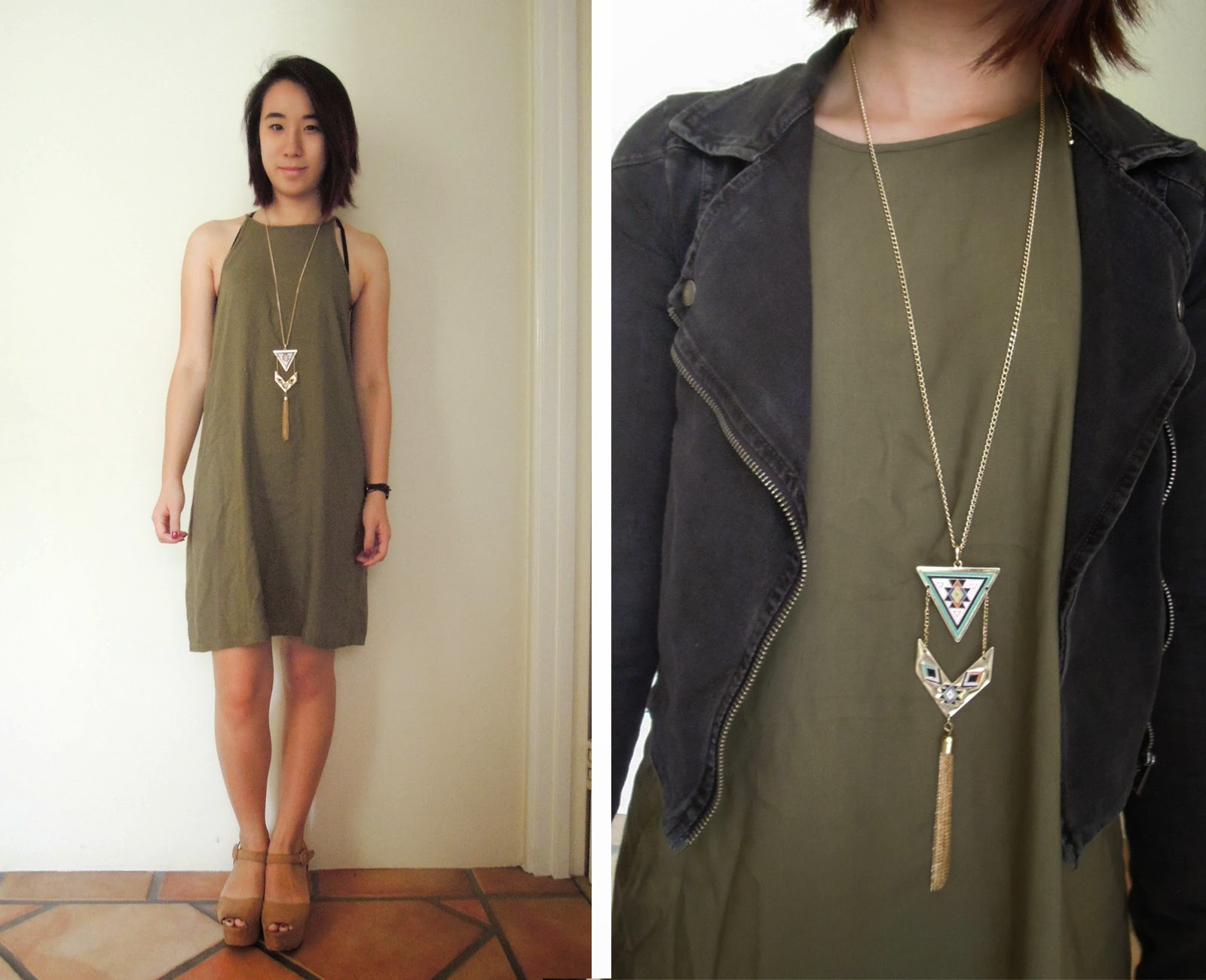 rayon dress khaki thrifted necklace statement jacket moto h&m heels flatforms nude black
