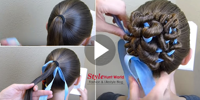 Ribbon Coiled Bun Hairstyle Tutorial By Princess Hairstyles