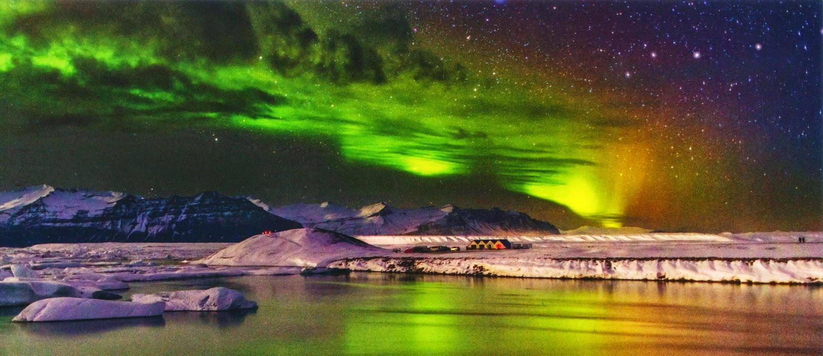 postcard, iceland, breiðamerkurjökull, northern lights, glacier