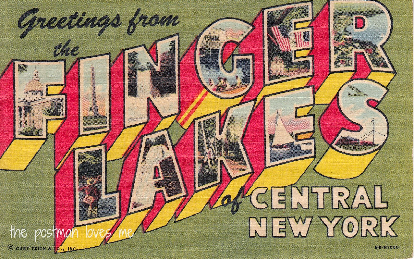 Greeting from the Finger Lakes Vintage Postcard