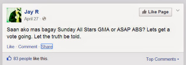 He asked his fans if he's more fit in ASAP than GMA All Stars