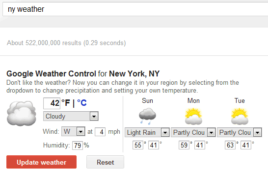 Google One box change weather