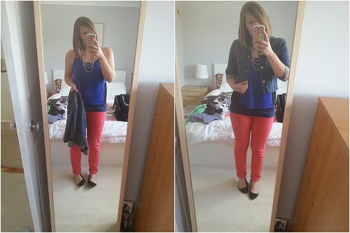 red trousers, blue top