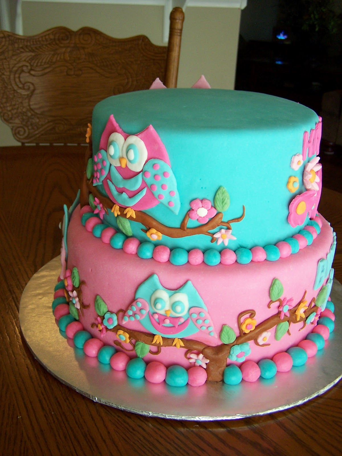 Heather Calvin Cakes Owl Themed Cake For A Girly Girl
