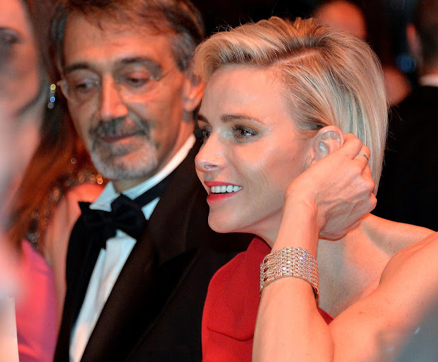 Princess Charlene wearing Cartier Maillon Panthère cuff bracelet