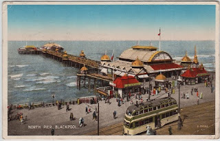 Vintage postcard of North Pier, Blackpool, Lancashire, c.1938
