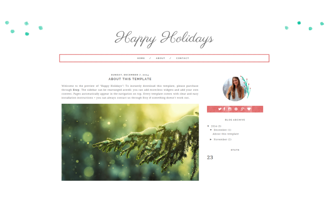 Happy Holidays Festive Premade Christmas Blogger Template