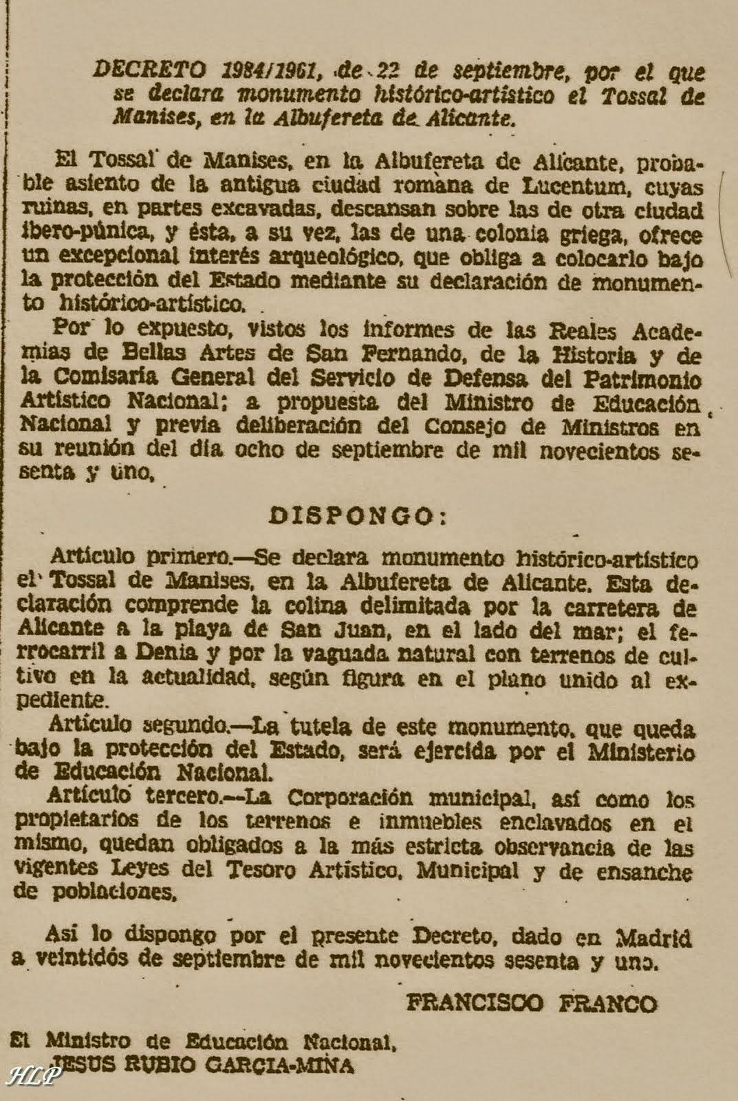 22 de Septiembre de 1961. Declaración de monumento-artistico