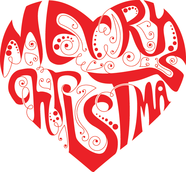 Merry christmas heart symbols emoticons