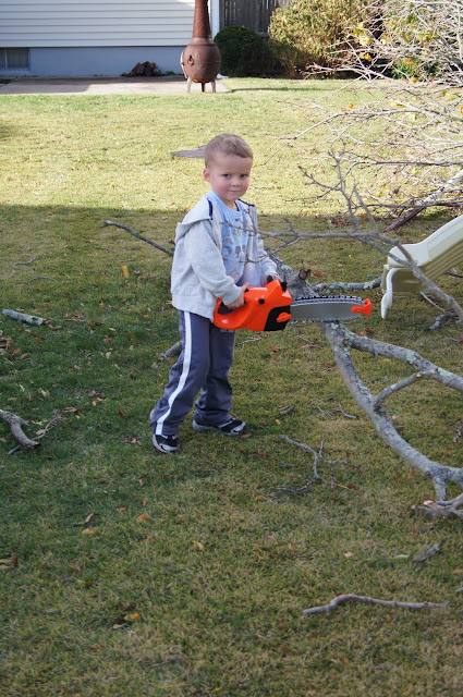 toddler realizing chainsaw doesn't work