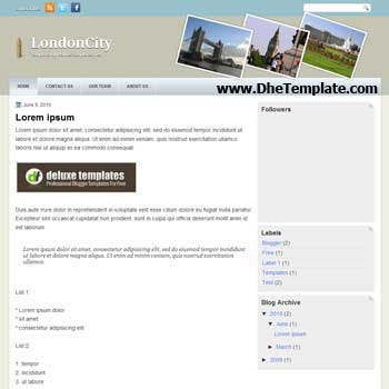 London City blogger template. travel template blog