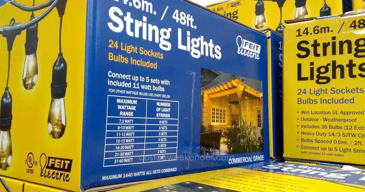 Feit 48 Ft Outdoor String Lights Costco Weekender