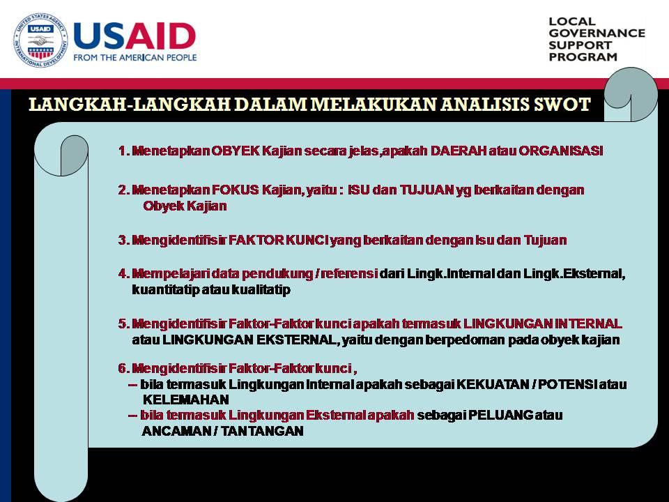 Langkah-Langkah dalam Analisis SWOT