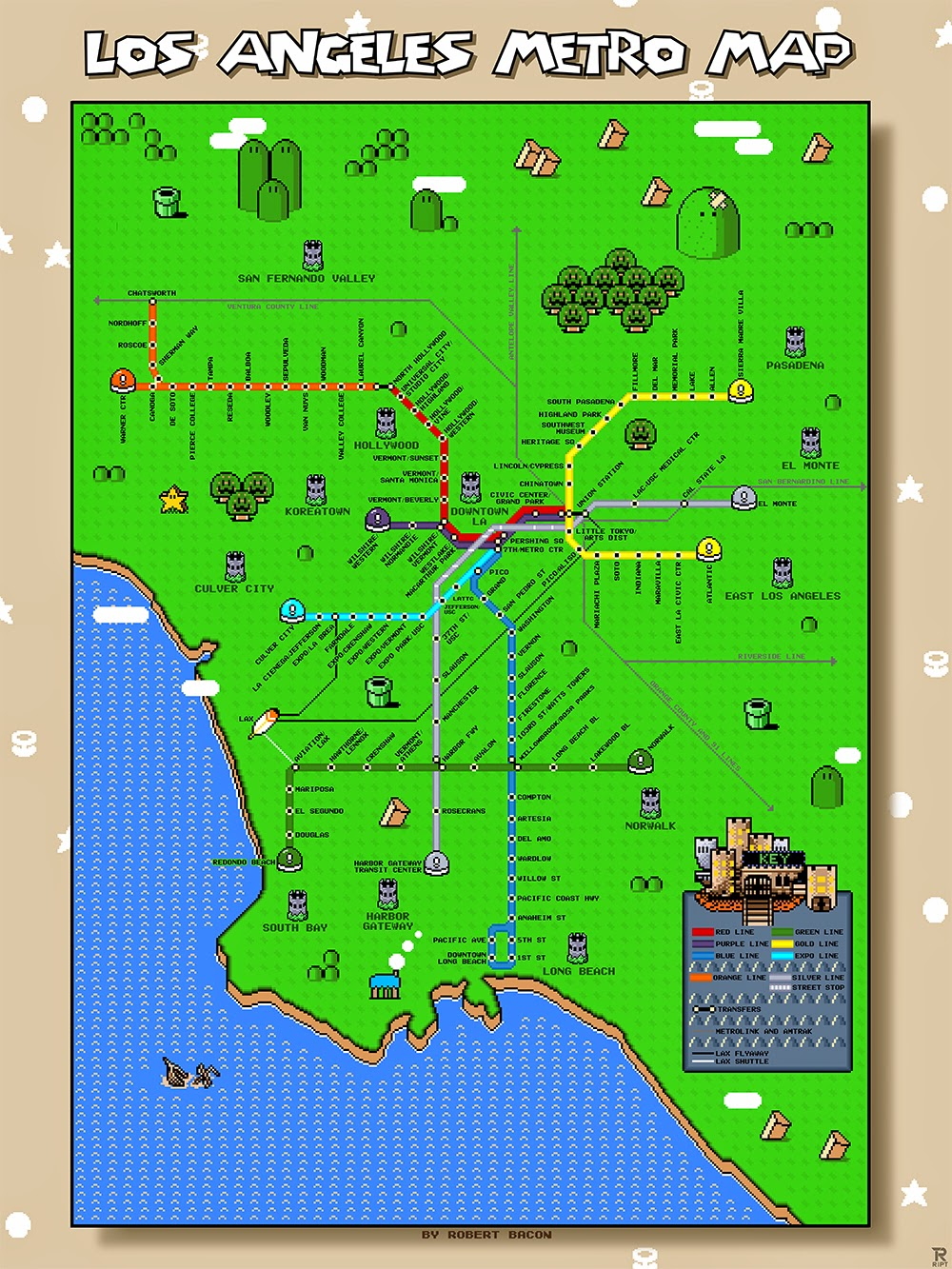 Things to do in los angeles super mario world los angeles metro map an artist going by the name robert bacon has created a map of the metro line of la in the theme of super mario this combines two of my favorite things gumiabroncs Choice Image