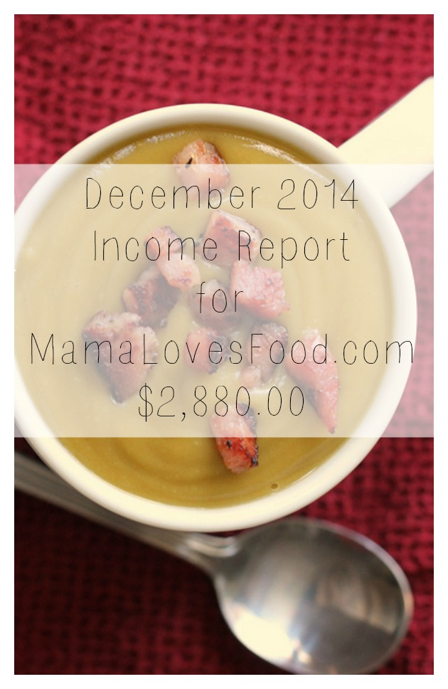 Income and Traffic Report for MamaLovesFood.com December 2014
