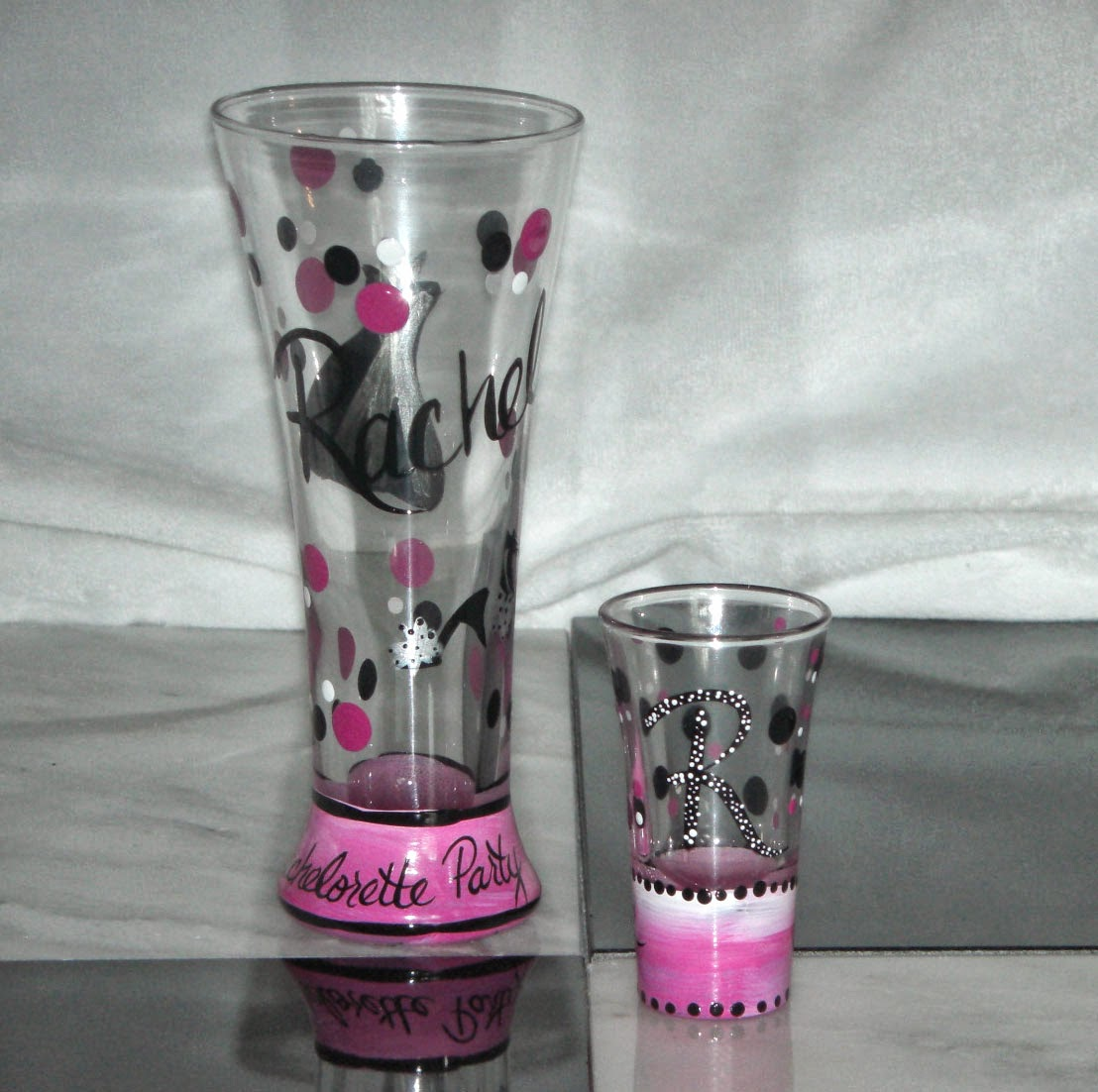 Hand Painted Shot and Beer Glass Set for Bridesmaid Gift