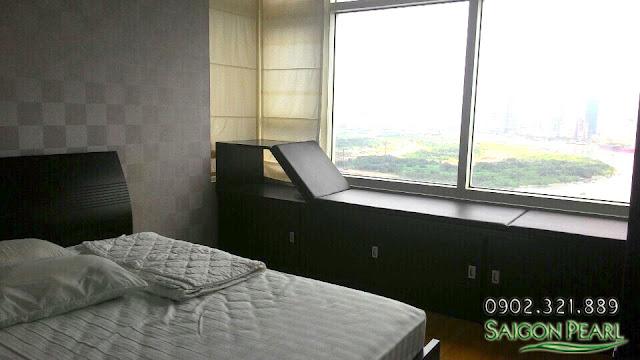 Phòng ngủ căn hộ Saigon Pearl 86m2 cho thuê