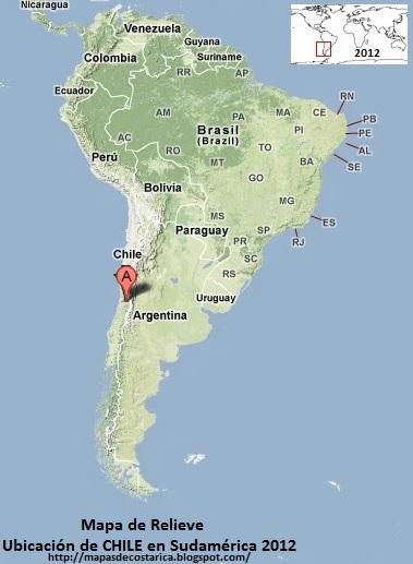 Mapa de Relieve. Ubicación de CHILE en Sudamérica