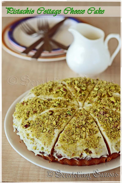 Butter less Oil Less Healthy Pistachio Cottage Cheese Cake