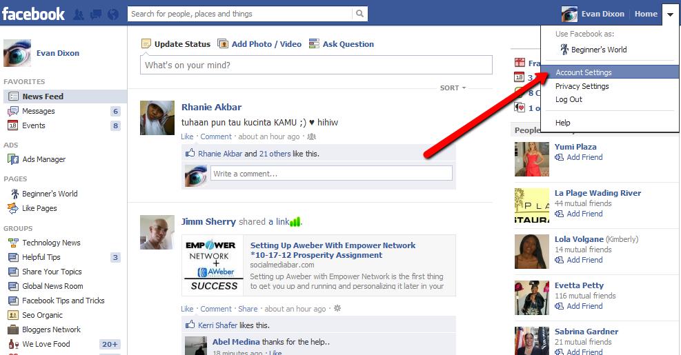 Как сменить в фейсбук
