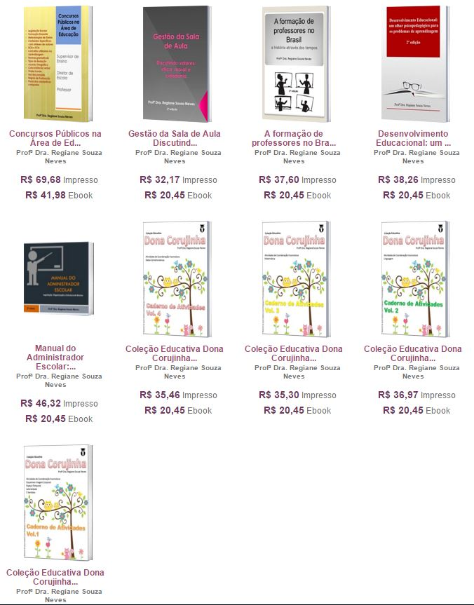 Livros de autoria da Profª Dra. Regiane Souza Neves
