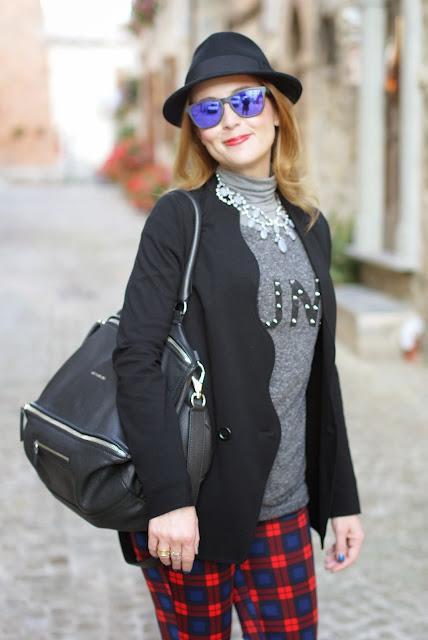 zara tartan pants, h&m fedora hat, givenchy pandora, fashion and cookies, fashion blogger