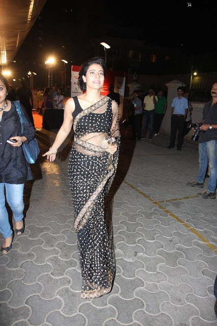 Actress Kajol in Black Transparent Saree Photos
