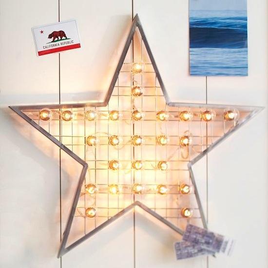 pottery barn teen light star display