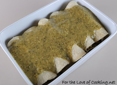 Spinach, Mushroom, and Poblano Enchiladas in a Tomatillo Sauce