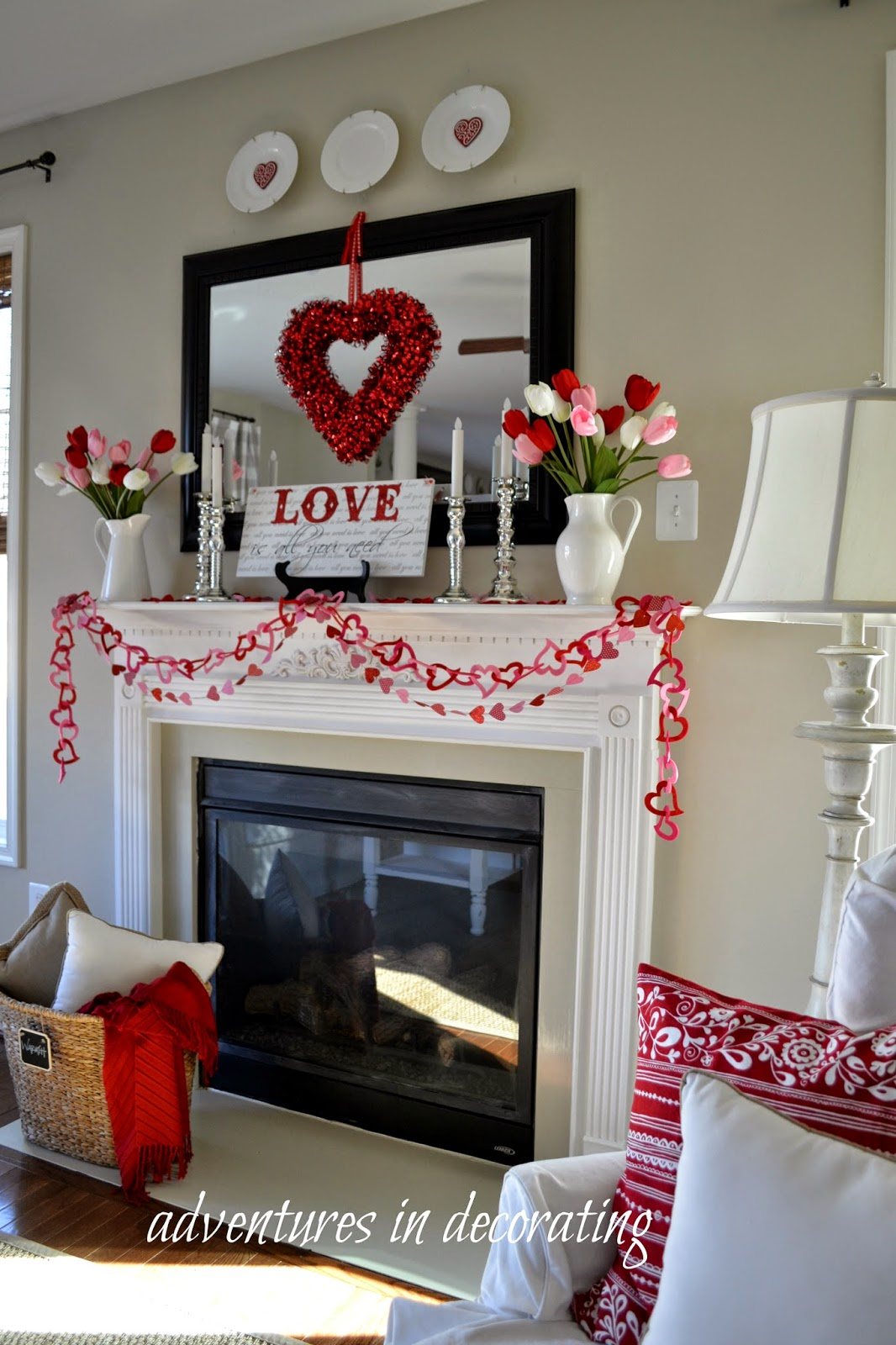 Adventures in decorating 2015 valentine mantel heart and for Blog design ideas