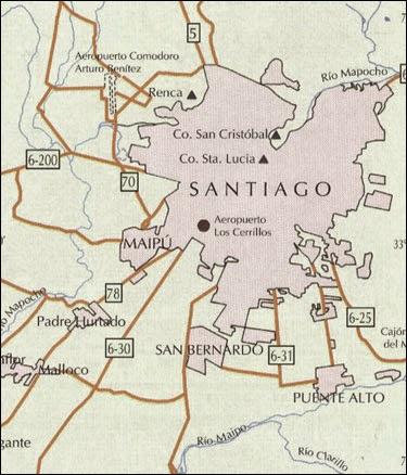 Map of Chile Santiago