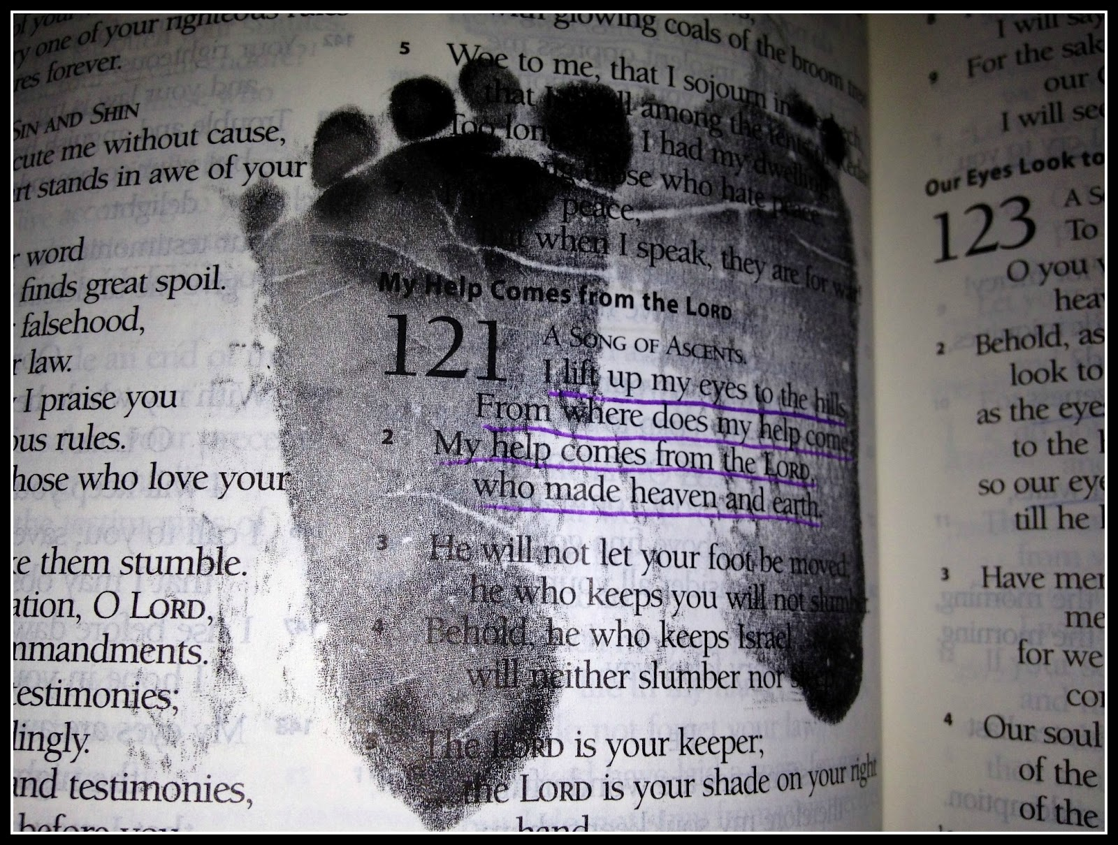 Baby footprints on favorite bible verse the day they are born images