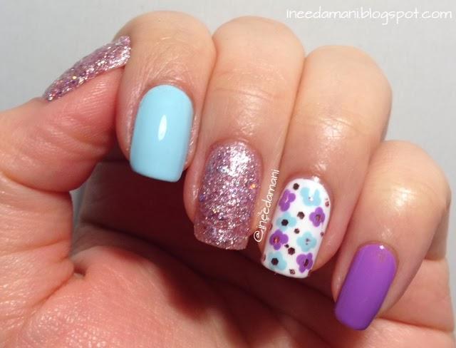 spring pastel floral nails