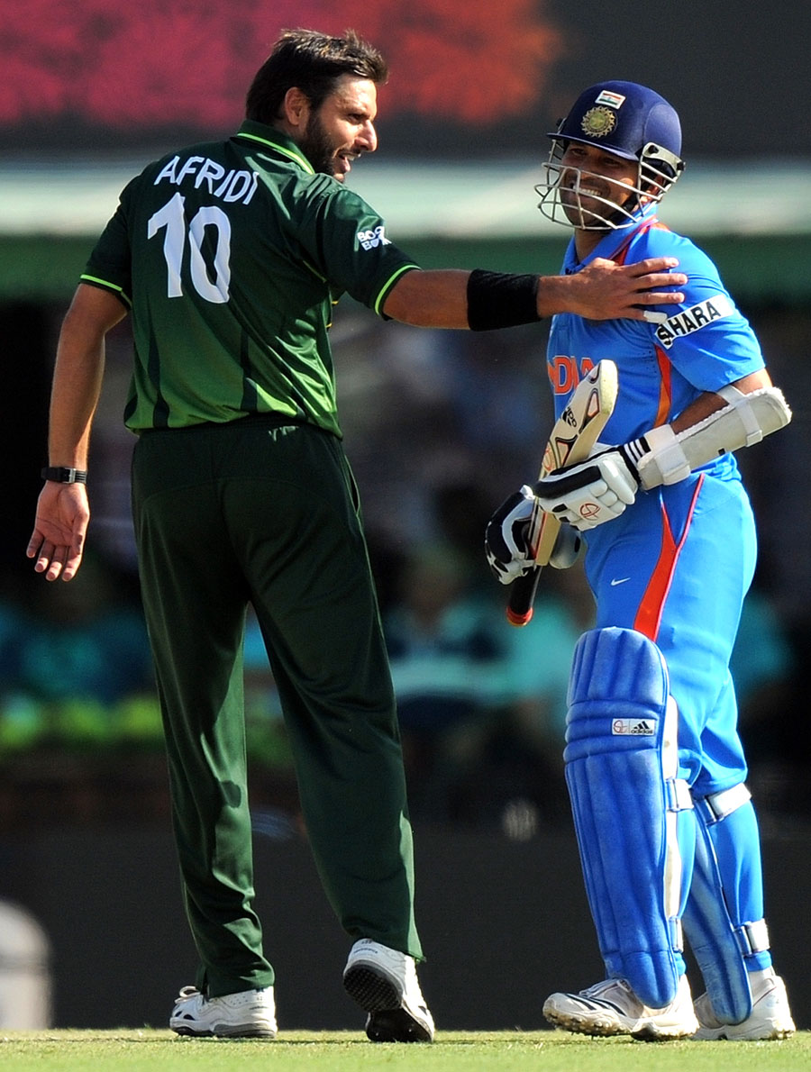 - Shahid+Afridi+and+Sachin+Tendulkar+share+a+lighter+moment+in+the+middle+of+the+action%2C+India+v+Pakistan%2C+2nd+semi-final%2C+World+Cup+2011%2C+Mohali%2C+March+30%2C+2011
